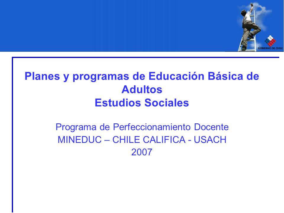 Planes y programas de Educación Básica de Adultos Estudios Sociales