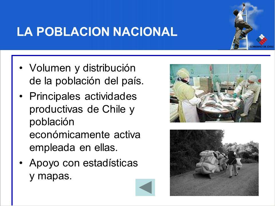 LA POBLACION NACIONAL Volumen y distribución de la población del país.
