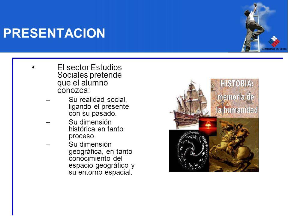 PRESENTACION El sector Estudios Sociales pretende que el alumno conozca: Su realidad social, ligando el presente con su pasado.