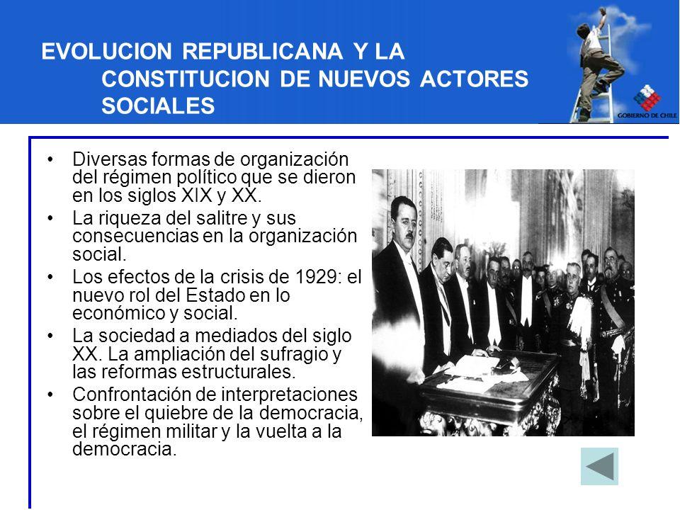 EVOLUCION REPUBLICANA Y LA CONSTITUCION DE NUEVOS ACTORES SOCIALES