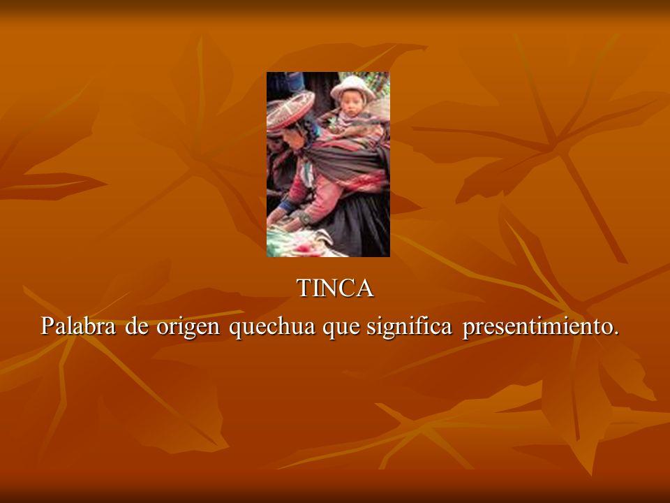 TINCA Palabra de origen quechua que significa presentimiento.