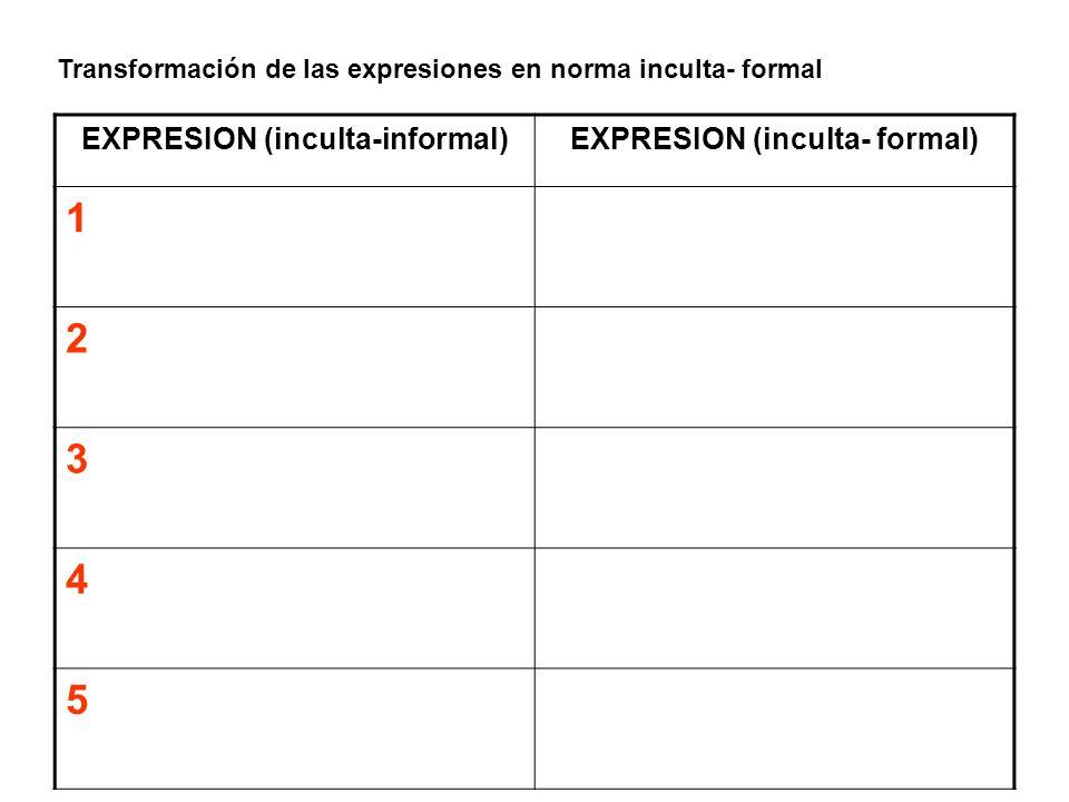 EXPRESION (inculta-informal) EXPRESION (inculta- formal)
