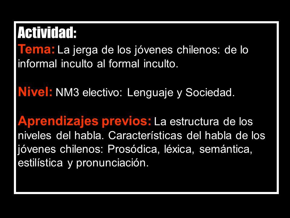 Actividad: Tema: La jerga de los jóvenes chilenos: de lo informal inculto al formal inculto. Nivel: NM3 electivo: Lenguaje y Sociedad.