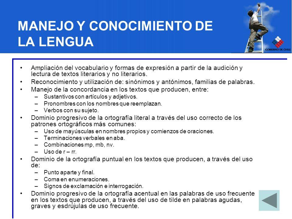 MANEJO Y CONOCIMIENTO DE LA LENGUA