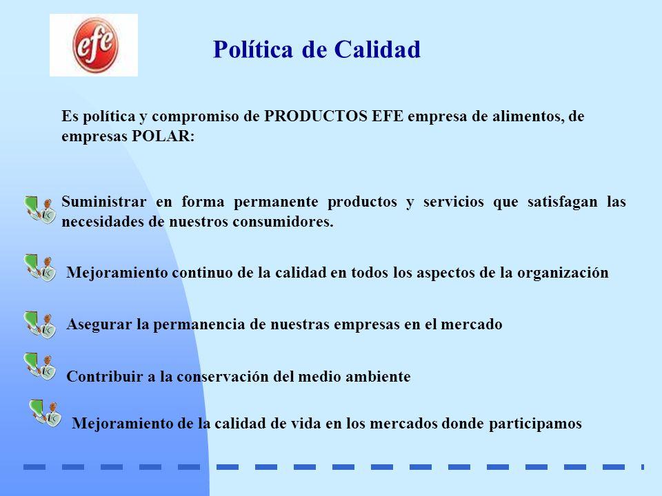 Política de Calidad Es política y compromiso de PRODUCTOS EFE empresa de alimentos, de empresas POLAR: