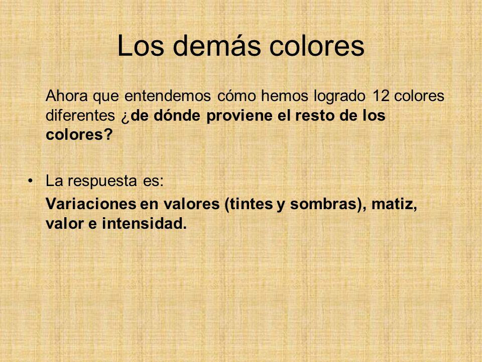 Los demás colores Ahora que entendemos cómo hemos logrado 12 colores diferentes ¿de dónde proviene el resto de los colores