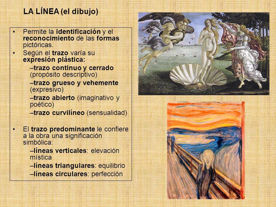 LA LÍNEA (el dibujo) Permite la identificación y el reconocimiento de las formas pictóricas. Según el trazo varía su expresión plástica: