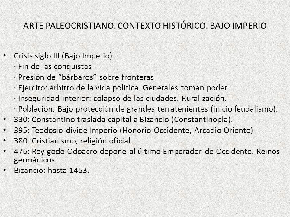 ARTE PALEOCRISTIANO. Contexto histórico. Bajo Imperio