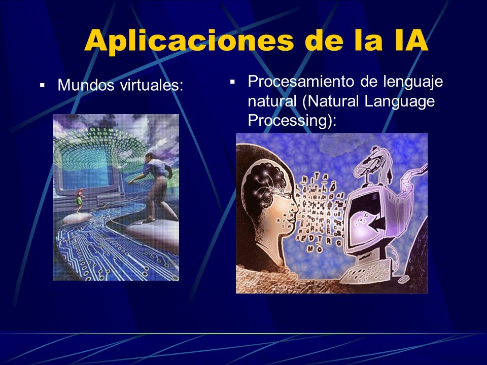 Aplicaciones de la IA Procesamiento de lenguaje natural (Natural Language Processing): Mundos virtuales: