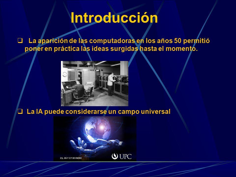 Introducción La aparición de las computadoras en los años 50 permitió