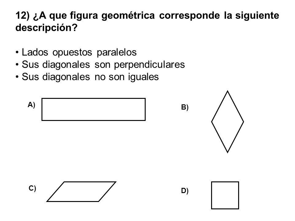 12) ¿A que figura geométrica corresponde la siguiente descripción