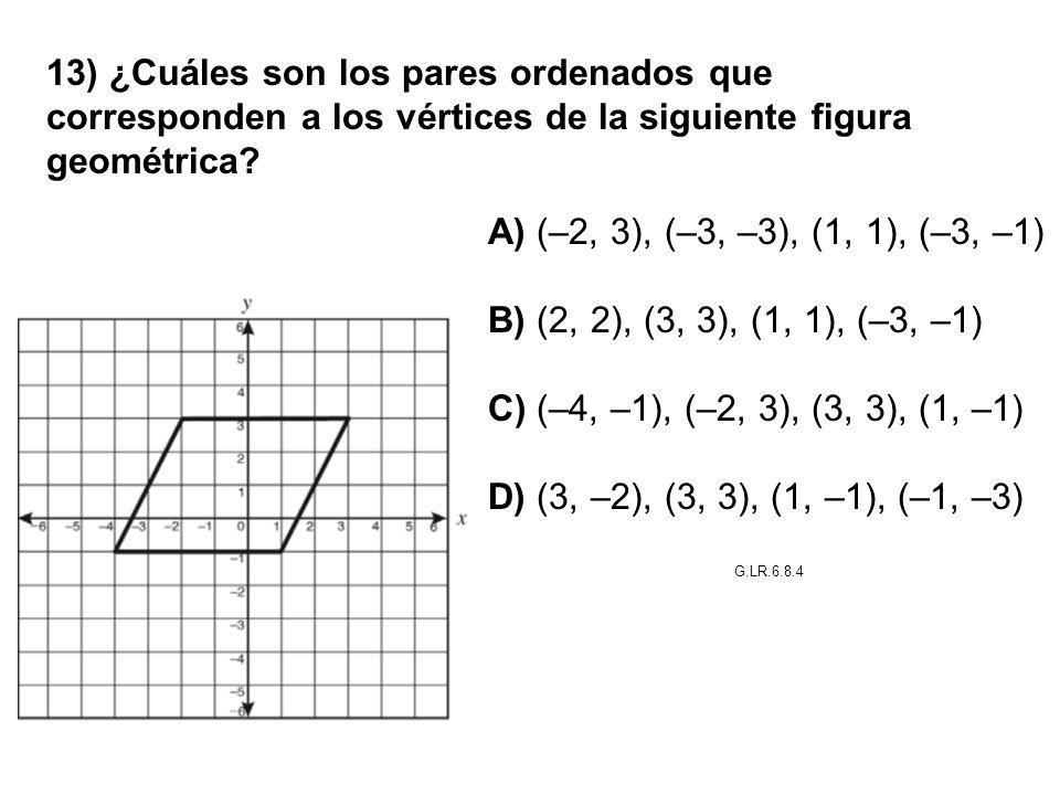 13) ¿Cuáles son los pares ordenados que corresponden a los vértices de la siguiente figura geométrica