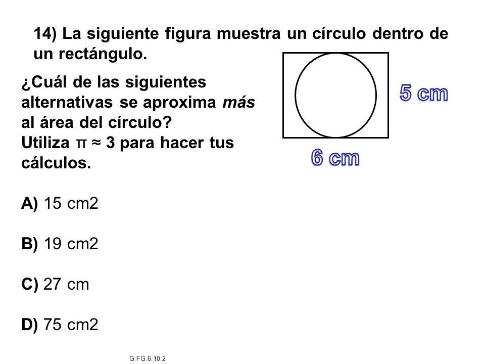 14) La siguiente figura muestra un círculo dentro de un rectángulo.