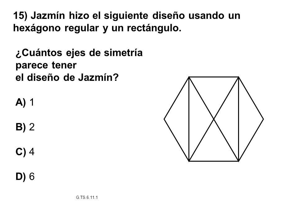 ¿Cuántos ejes de simetría parece tener el diseño de Jazmín A) 1 B) 2