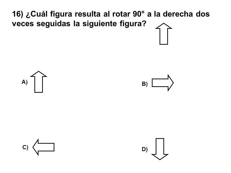 16) ¿Cuál figura resulta al rotar 90° a la derecha dos veces seguidas la siguiente figura