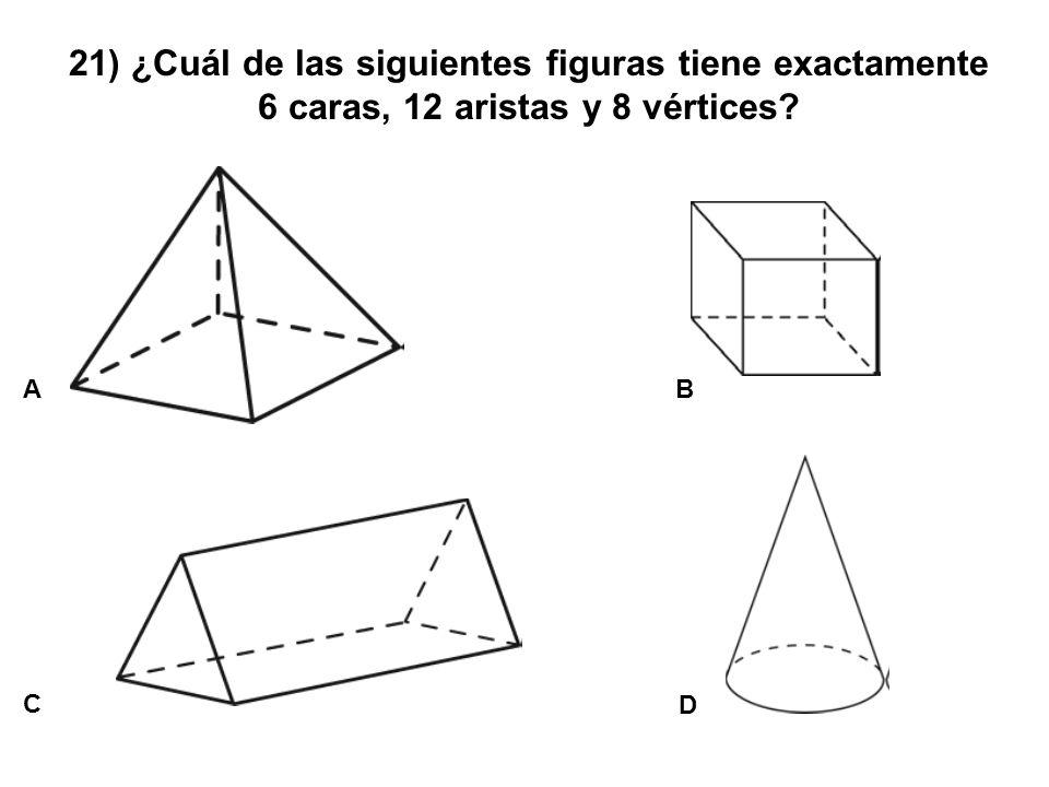 21) ¿Cuál de las siguientes figuras tiene exactamente 6 caras, 12 aristas y 8 vértices