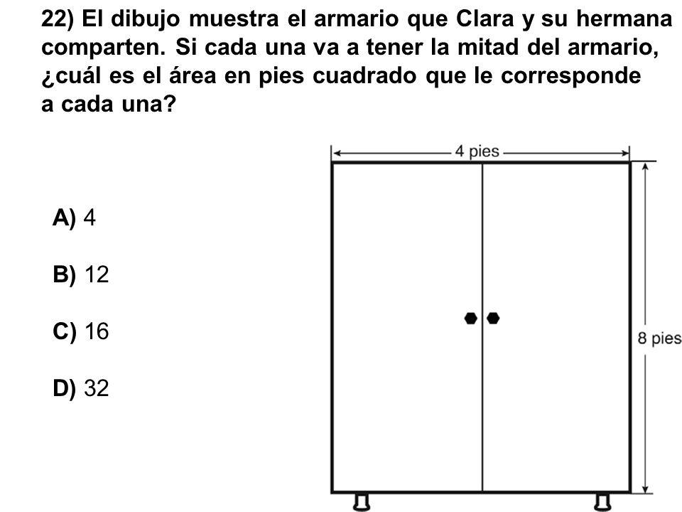 22) El dibujo muestra el armario que Clara y su hermana comparten
