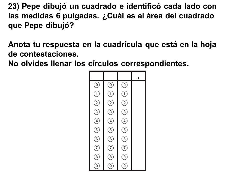 23) Pepe dibujó un cuadrado e identificó cada lado con las medidas 6 pulgadas. ¿Cuál es el área del cuadrado que Pepe dibujó
