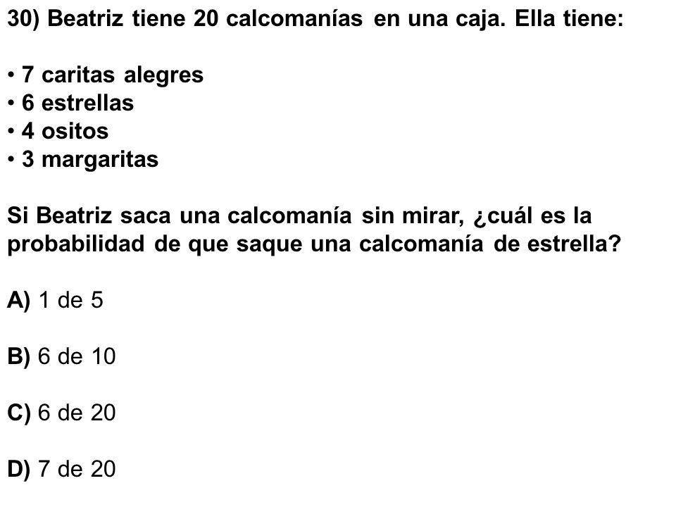 30) Beatriz tiene 20 calcomanías en una caja. Ella tiene: