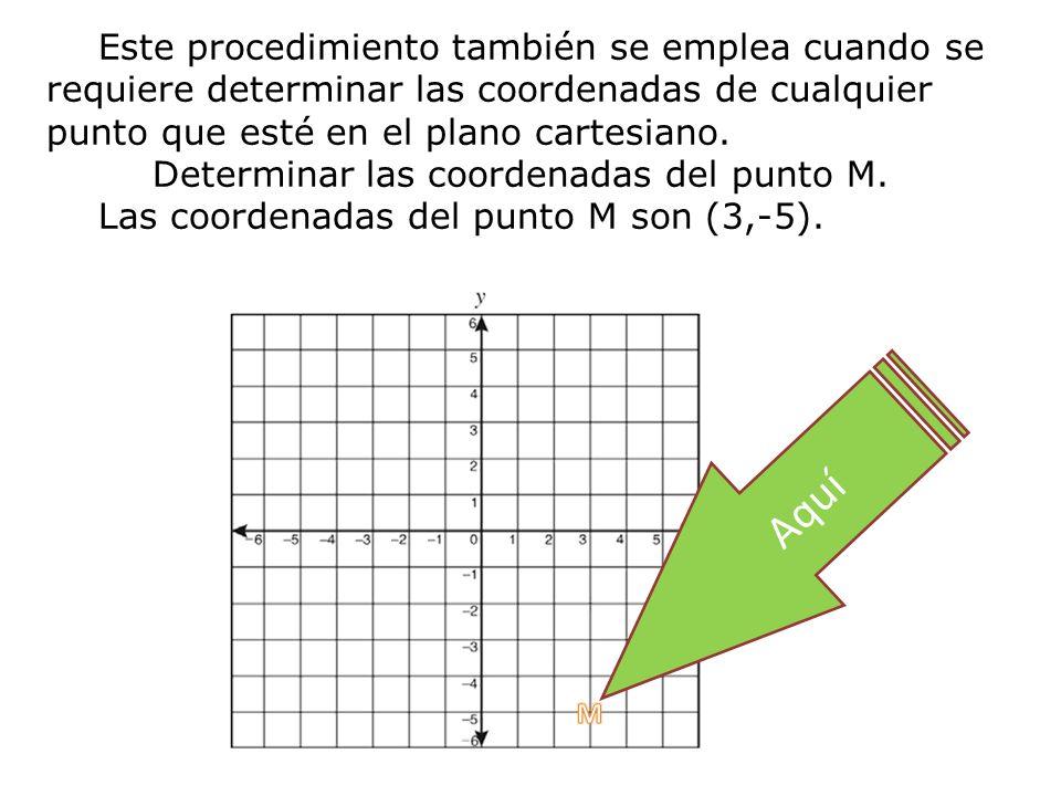 Este procedimiento también se emplea cuando se requiere determinar las coordenadas de cualquier punto que esté en el plano cartesiano.