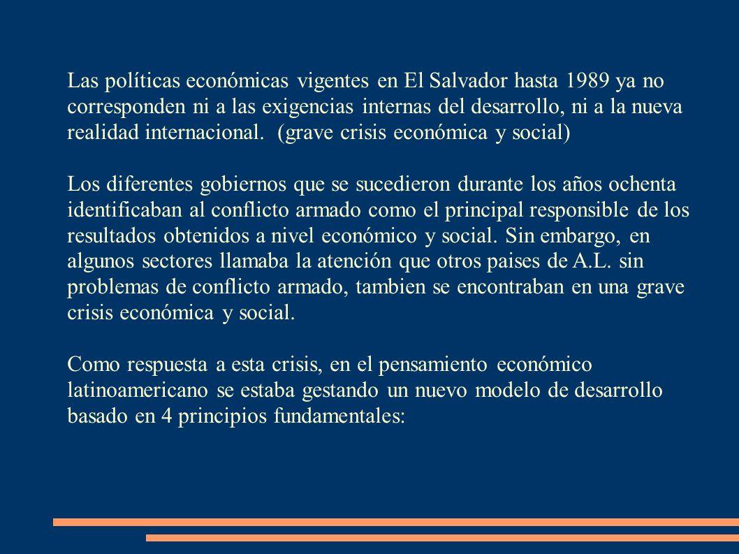 Las políticas económicas vigentes en El Salvador hasta 1989 ya no corresponden ni a las exigencias internas del desarrollo, ni a la nueva realidad internacional. (grave crisis económica y social)