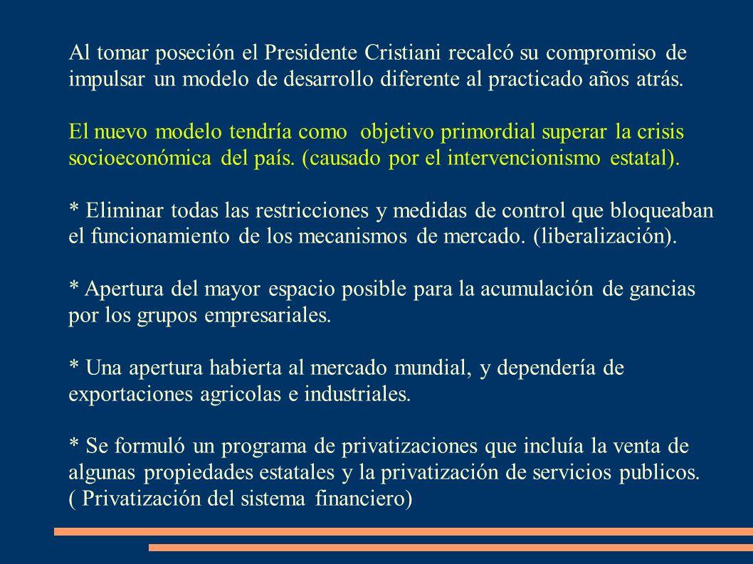Al tomar poseción el Presidente Cristiani recalcó su compromiso de impulsar un modelo de desarrollo diferente al practicado años atrás.
