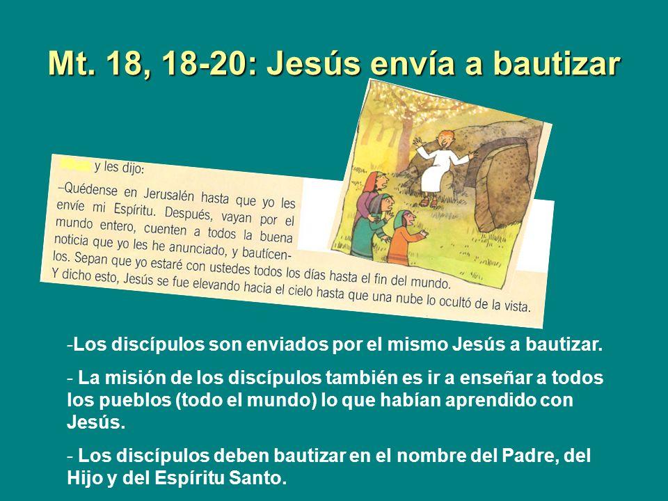 Mt. 18, 18-20: Jesús envía a bautizar