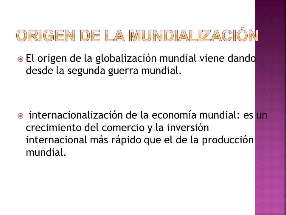 Origen de la mundialización