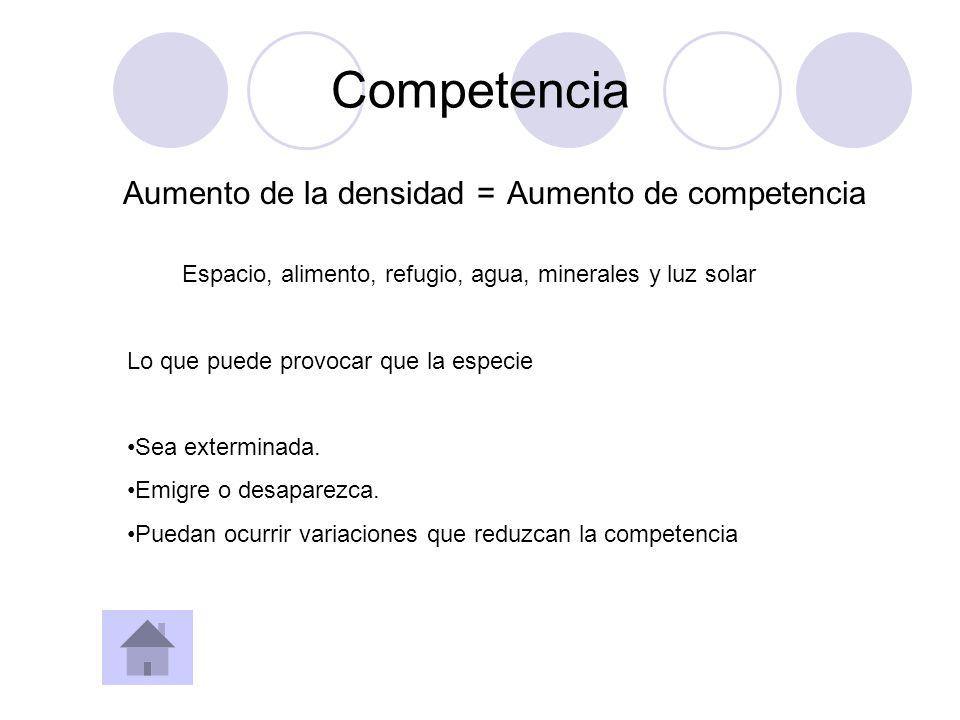 Competencia Aumento de la densidad = Aumento de competencia