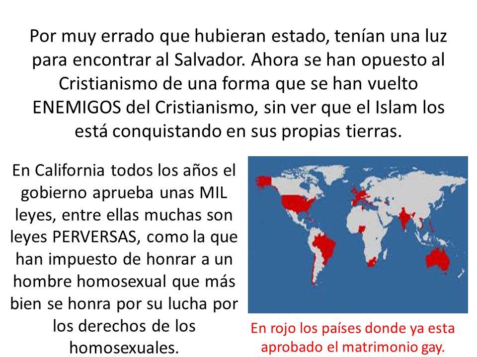 En rojo los países donde ya esta aprobado el matrimonio gay.