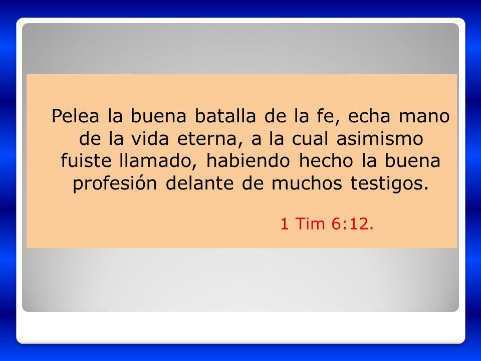 Pelea la buena batalla de la fe, echa mano de la vida eterna, a la cual asimismo fuiste llamado, habiendo hecho la buena profesión delante de muchos testigos.