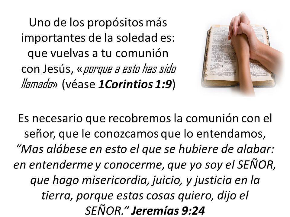 Uno de los propósitos más importantes de la soledad es: que vuelvas a tu comunión con Jesús, «porque a esto has sido llamado» (véase 1Corintios 1:9)