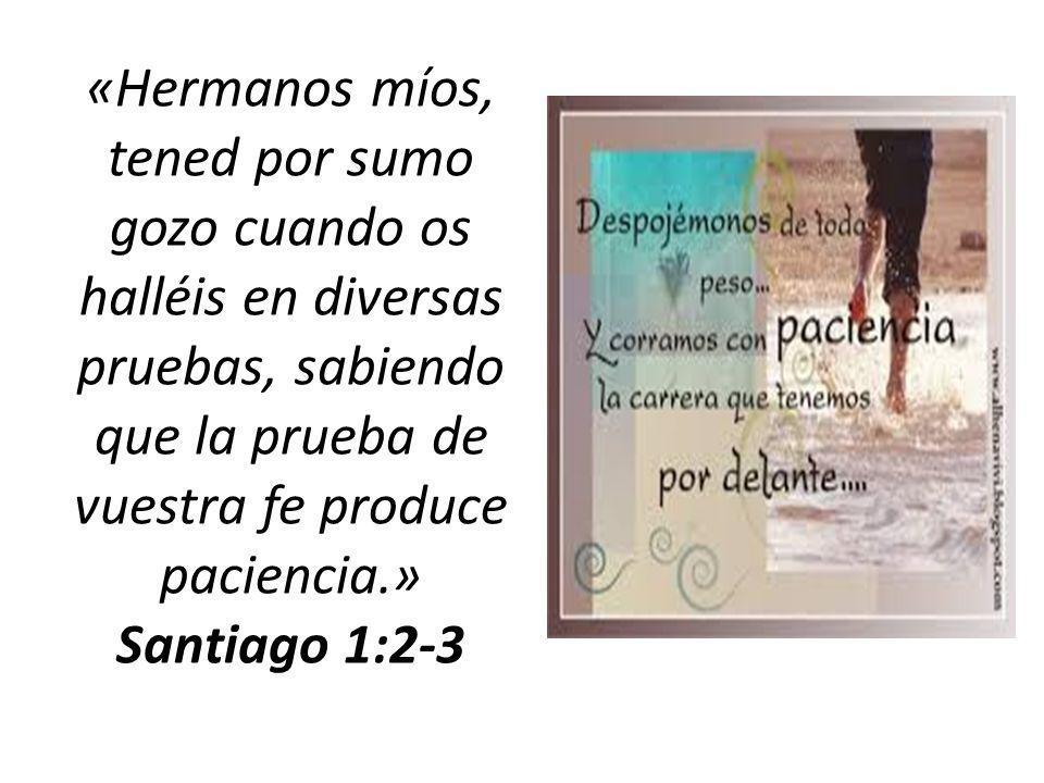 «Hermanos míos, tened por sumo gozo cuando os halléis en diversas pruebas, sabiendo que la prueba de vuestra fe produce paciencia.» Santiago 1:2-3