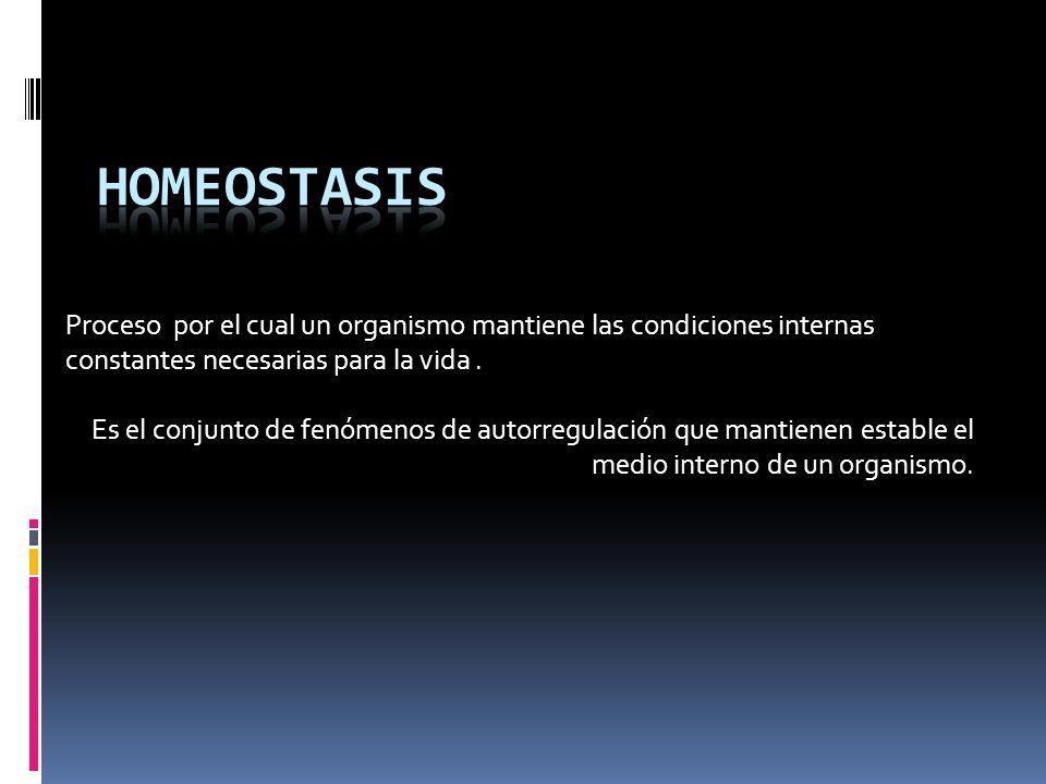 Homeostasis Proceso por el cual un organismo mantiene las condiciones internas constantes necesarias para la vida .