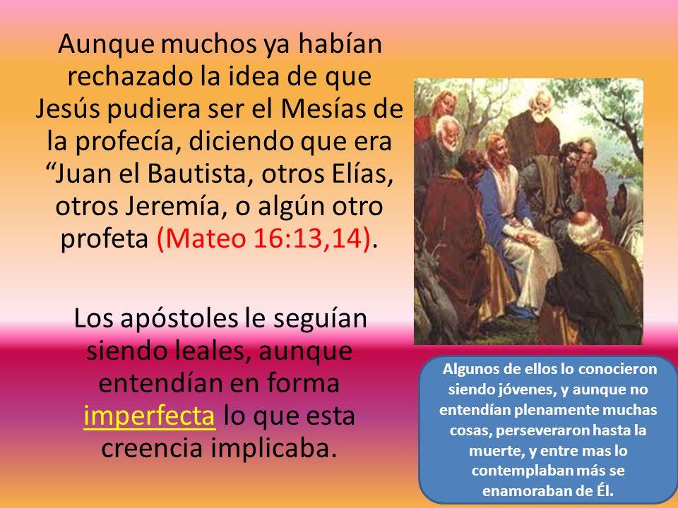 Aunque muchos ya habían rechazado la idea de que Jesús pudiera ser el Mesías de la profecía, diciendo que era Juan el Bautista, otros Elías, otros Jeremía, o algún otro profeta (Mateo 16:13,14).