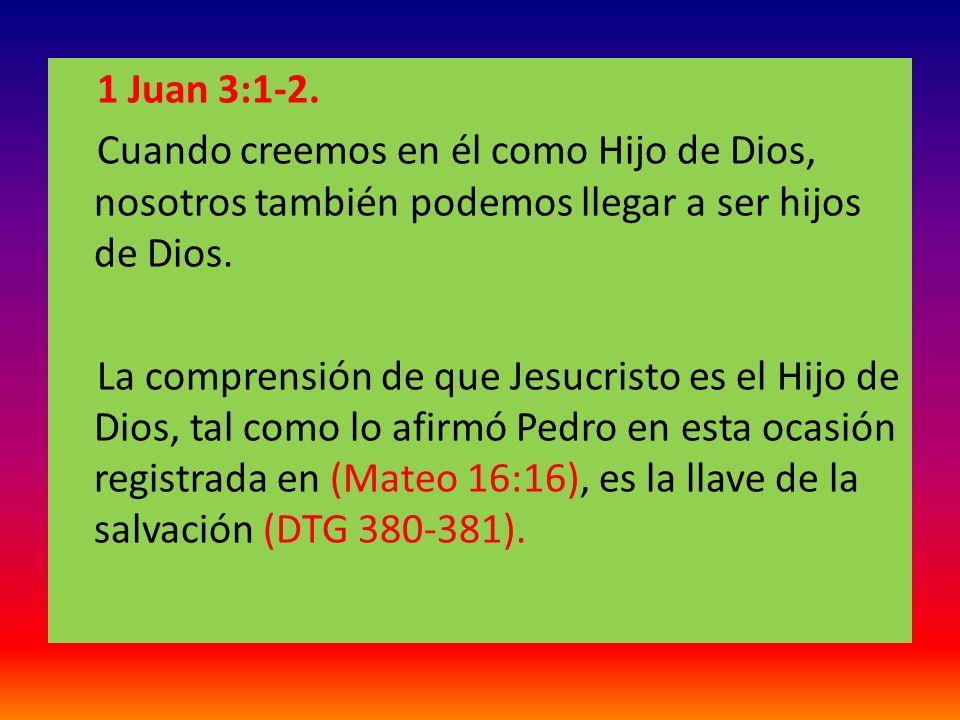 1 Juan 3:1-2. Cuando creemos en él como Hijo de Dios, nosotros también podemos llegar a ser hijos de Dios.