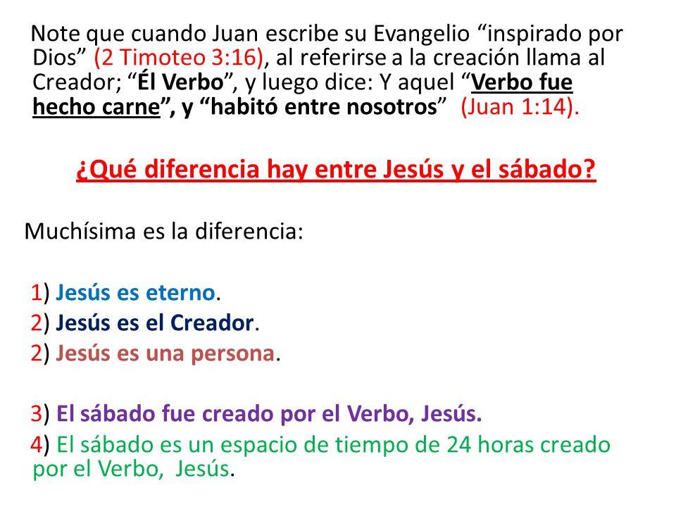 Note que cuando Juan escribe su Evangelio inspirado por Dios (2 Timoteo 3:16), al referirse a la creación llama al Creador; Él Verbo , y luego dice: Y aquel Verbo fue hecho carne , y habitó entre nosotros (Juan 1:14).