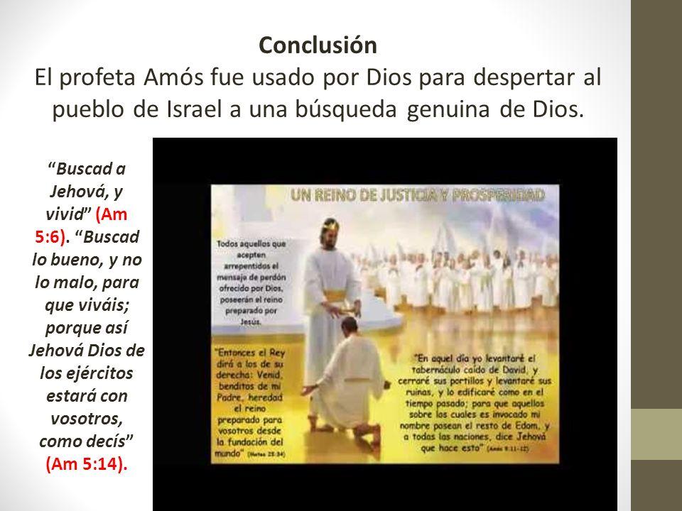 Conclusión El profeta Amós fue usado por Dios para despertar al pueblo de Israel a una búsqueda genuina de Dios.