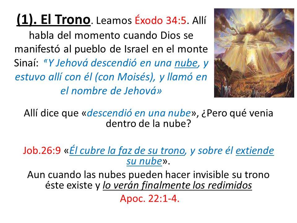 Job.26:9 «Él cubre la faz de su trono, y sobre él extiende su nube».