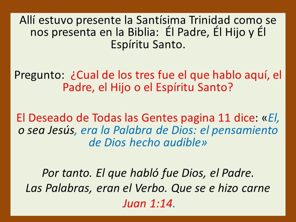 Allí estuvo presente la Santísima Trinidad como se nos presenta en la Biblia: Él Padre, Él Hijo y Él Espíritu Santo.