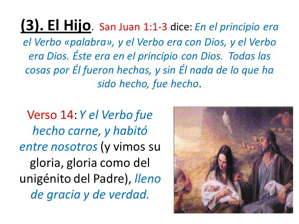 (3). El Hijo. San Juan 1:1-3 dice: En el principio era el Verbo «palabra», y el Verbo era con Dios, y el Verbo era Dios. Éste era en el principio con Dios. Todas las cosas por Él fueron hechas, y sin Él nada de lo que ha sido hecho, fue hecho.
