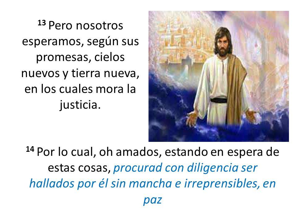 13 Pero nosotros esperamos, según sus promesas, cielos nuevos y tierra nueva, en los cuales mora la justicia.