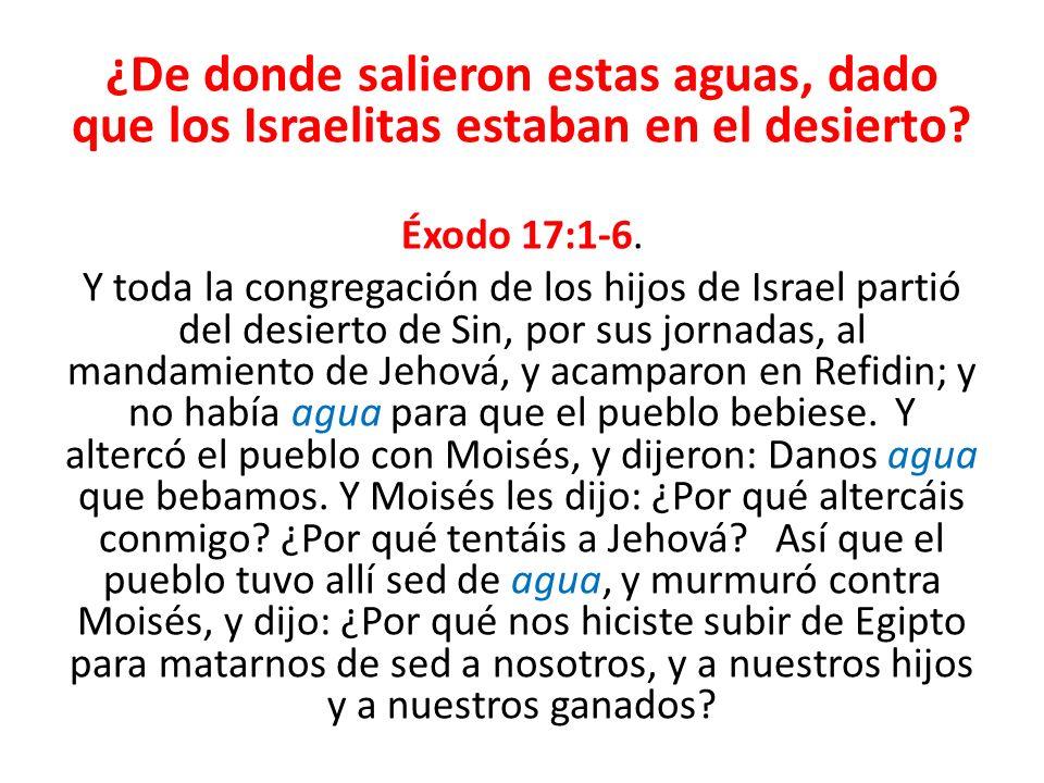 ¿De donde salieron estas aguas, dado que los Israelitas estaban en el desierto