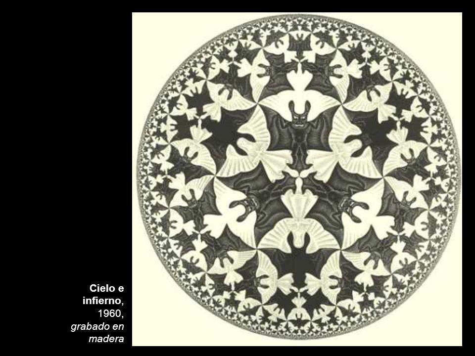 Cielo e infierno, 1960, grabado en madera