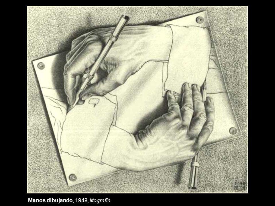 Manos dibujando, 1948, litografía