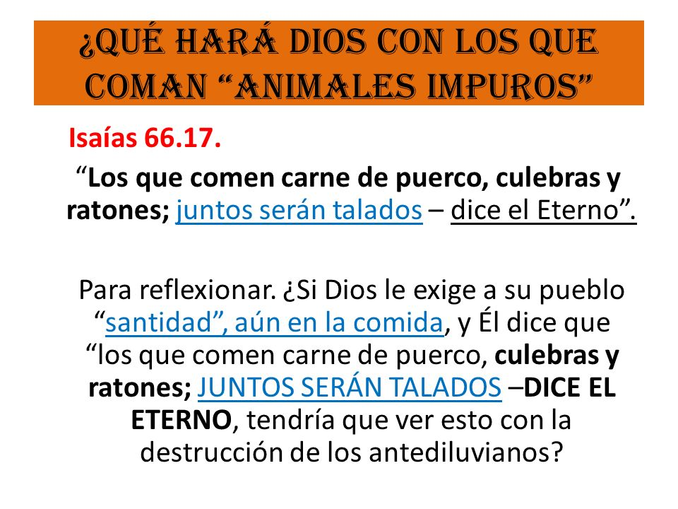 ¿Qué hará Dios con los que coman animales impuros
