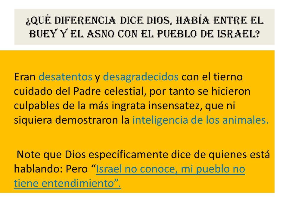 ¿Qué diferencia dice Dios, había entre el buey y el asno con el pueblo de Israel