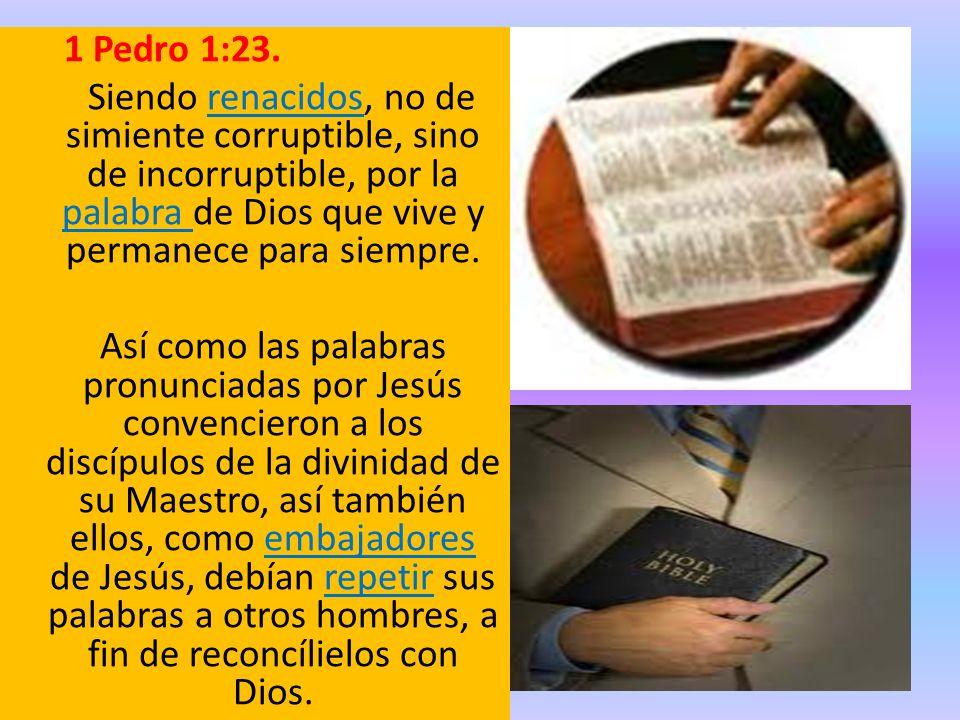 1 Pedro 1:23. Siendo renacidos, no de simiente corruptible, sino de incorruptible, por la palabra de Dios que vive y permanece para siempre.