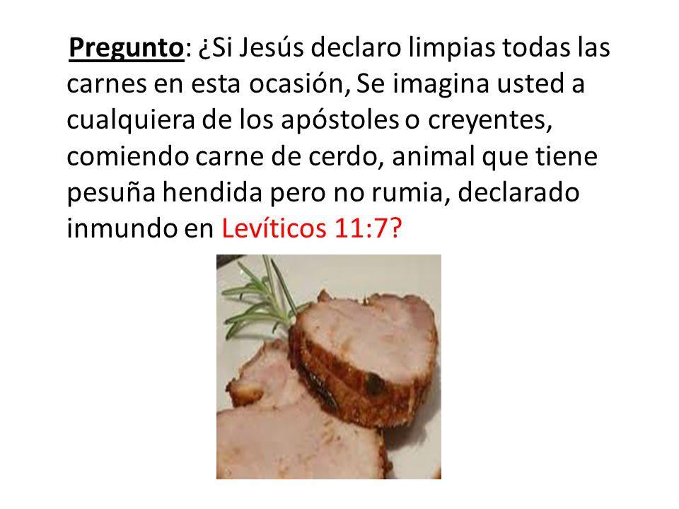 Pregunto: ¿Si Jesús declaro limpias todas las carnes en esta ocasión, Se imagina usted a cualquiera de los apóstoles o creyentes, comiendo carne de cerdo, animal que tiene pesuña hendida pero no rumia, declarado inmundo en Levíticos 11:7