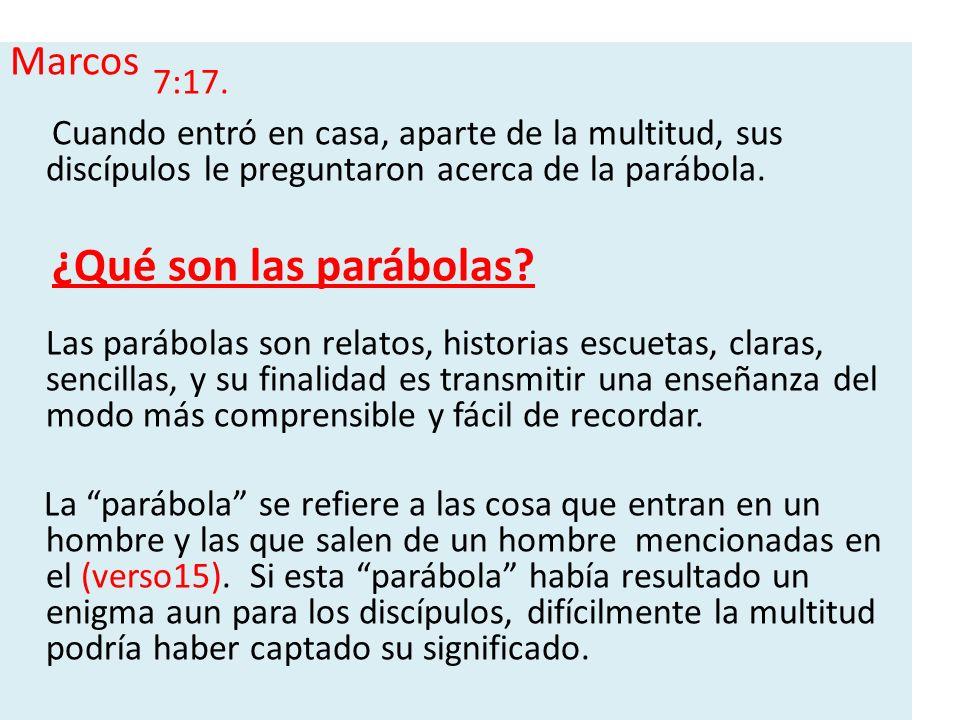 Marcos 7:17. Cuando entró en casa, aparte de la multitud, sus discípulos le preguntaron acerca de la parábola.